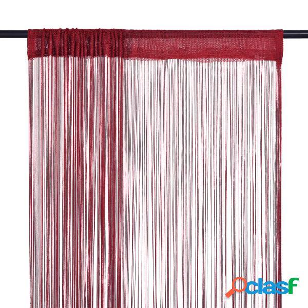 Vidaxl tende a filo 2 pz 140x250 cm rosso bordò