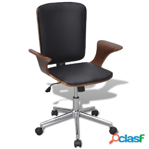 Vidaxl sedia da ufficio girevole in legno curvato e pelle artificiale