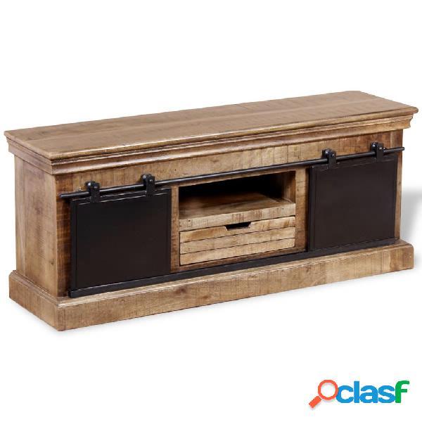 Vidaxl mobile tv 2 porte scorrevoli legno massello mango 100x40x45 cm