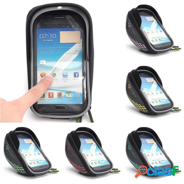 Cassa del telefono borse manubrio chiare portavaligie laterale borsa touch screen bici borsa telaio della bicicletta