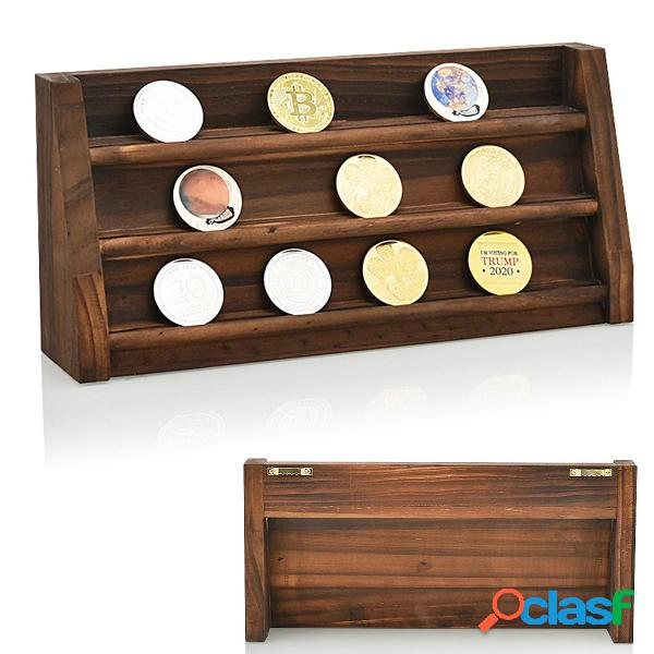 Porta monete in legno da collezione challenge display decorazioni per mensole con supporto per rack