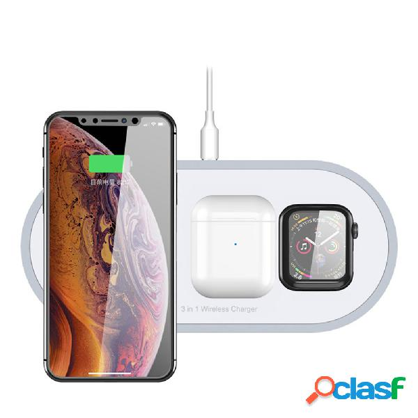 Bakeey 18w 3 in 1 led indicatore qi caricabatterie wireless a ricarica rapida per airpods apple watch 4 3 2 1 iwatch iph