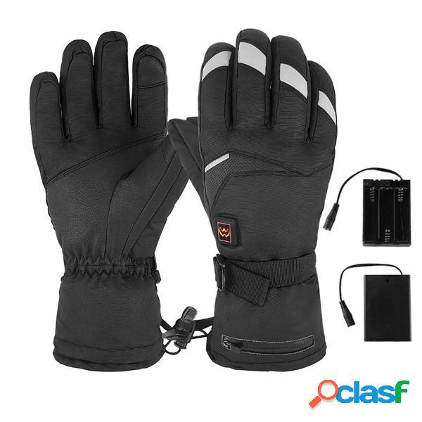 Riscaldamento elettrico a 5 livelli m / l guanti sci esterno impermeabile scaldamani riscaldato a mano antiscivolo
