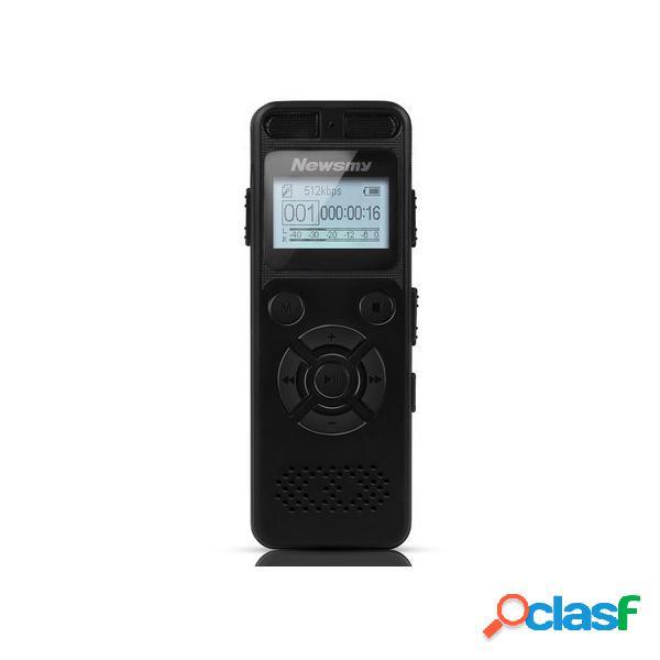 Newsmy rv29 8gb 1536kbps pcm dual microfono 138 ore da a a b ripeti registratore vocale