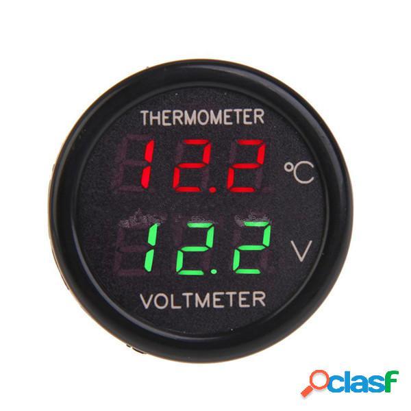 2 in 1 esposizione auto doppio led termometro digitale voltmetro 12v