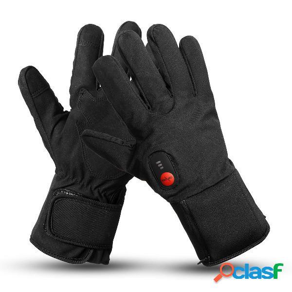 7.4v 2200mah riscaldato elettrico guanti motocicletta scaldino invernale sci esterno regolazione della temperatura a 3 v