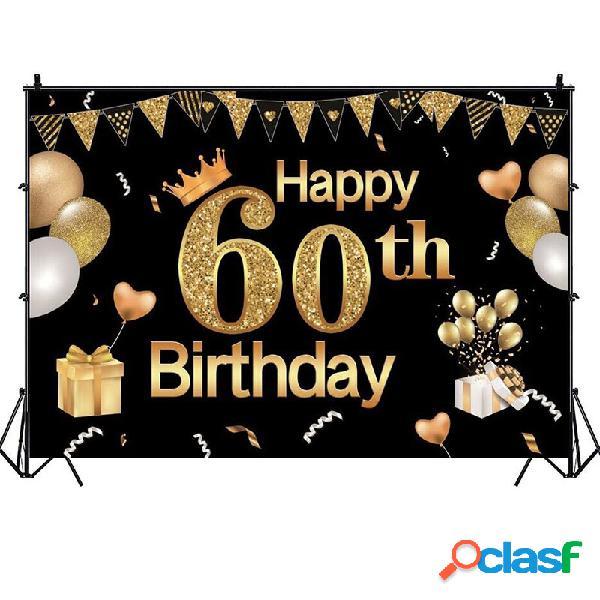 1.5x0.9m 2.1x1.5m 2.7x1.8m 60a fotografia in oro nero sfondo festa di compleanno foto sfondo decorazione