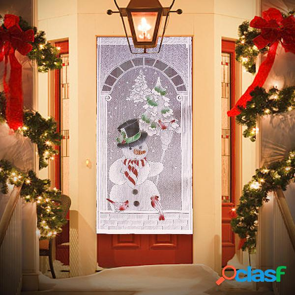 Tende di natale pizzo bianco pupazzo di neve porta finestra decorazioni natalizie decorazioni per tende per feste di cas