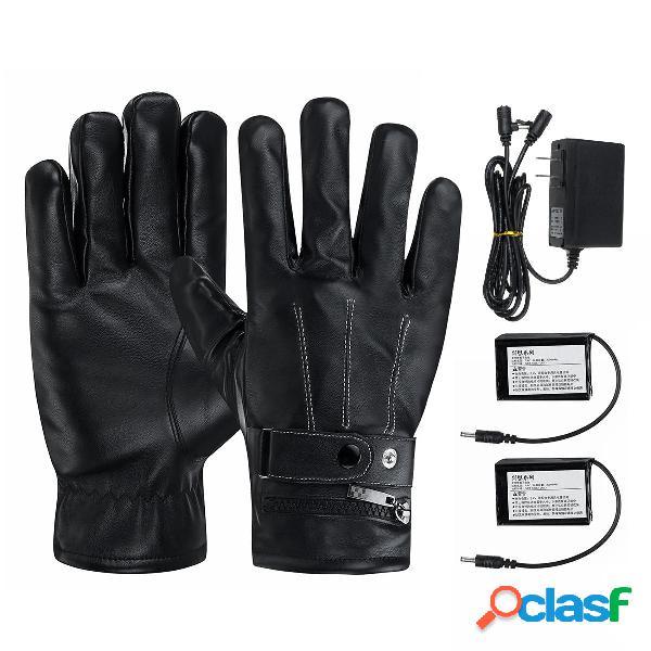 7.4v 3000mah batteria riscaldamento elettrico guanti moto invernale calda guanti touch screen impermeabile nero