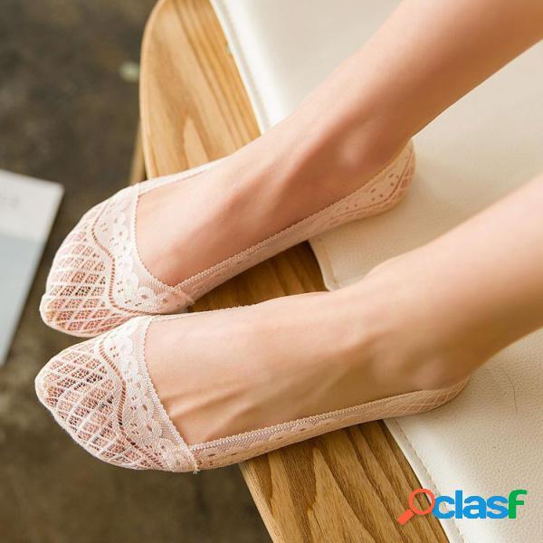 Donne donne breathable elasticity pizzo antiscivolo invisible boat calze calze a basso taglio