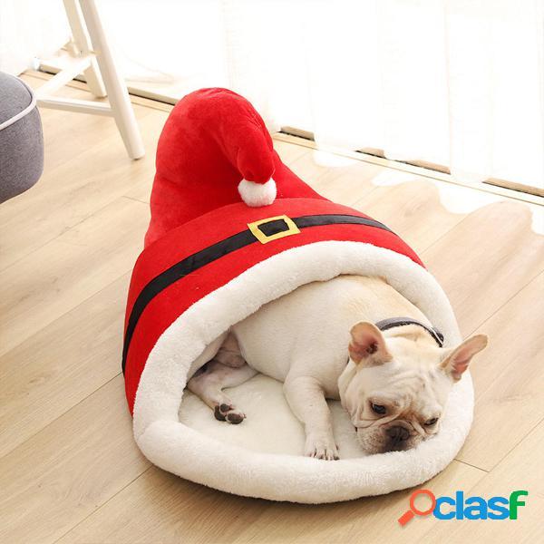 60x43x35cm pantofola rossa per animali domestici di natale cartoon tipo letto caldo invernale spesso per animali domesti