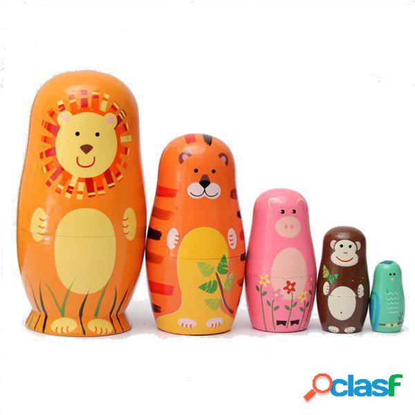 Set di 5 carino bambole di nidificazione legno matryoshka animale russo bambola