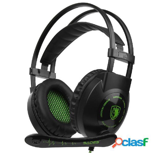 Sades sa-801 cuffie stereo da gioco cablate da 3,5 mm con controllo del volume del microfono per pc laptop ps4
