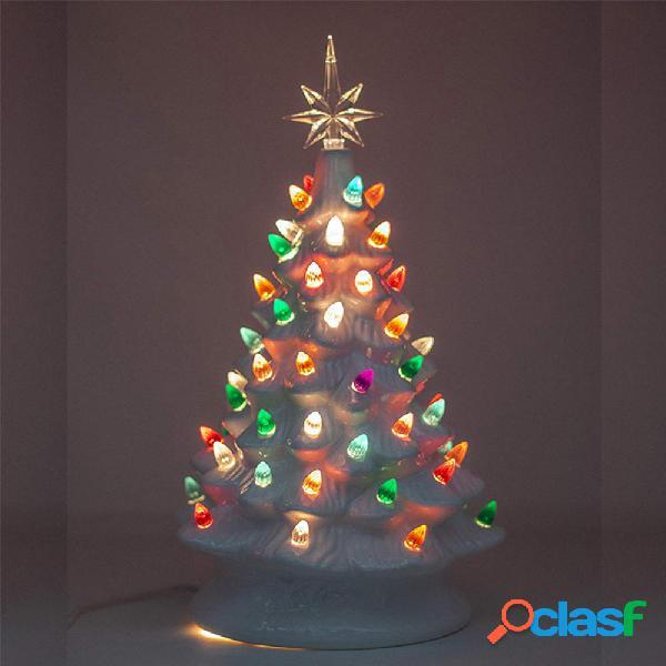 2019 albero di natale in ceramica retrò vintage bianco illuminato con lampadine