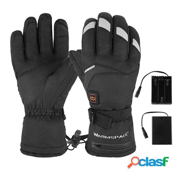 Touchscreen riscaldato elettrico guanti di temperatura dellingranaggio di warmspace 5 impermeabile per il motocicli