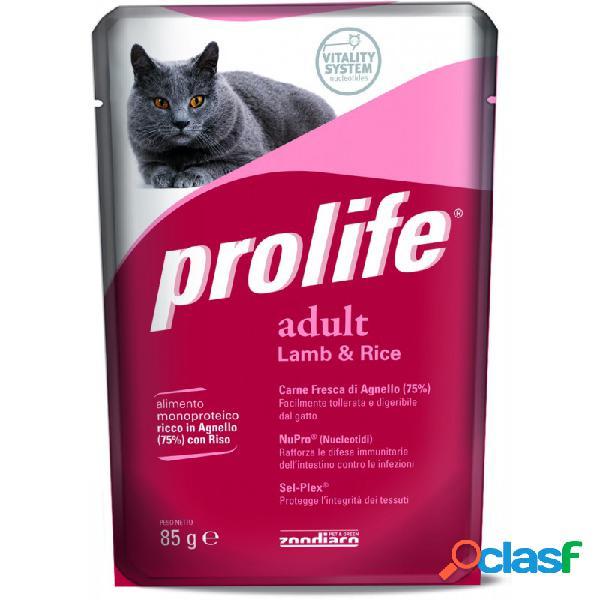 Prolife - prolife adult cat con agnello e riso umido 12 bustine da 85 gr