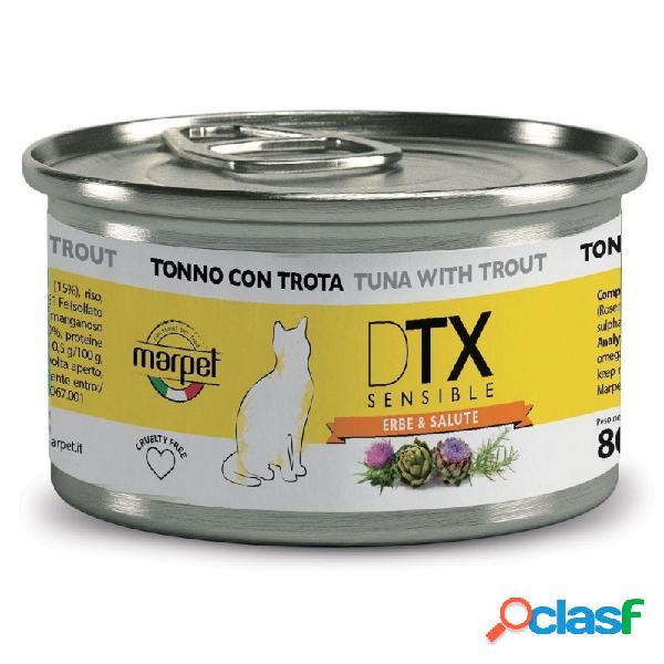 Marpet - dtx sensible cibo umido per gatti 8 lattine da 80 gr tonno