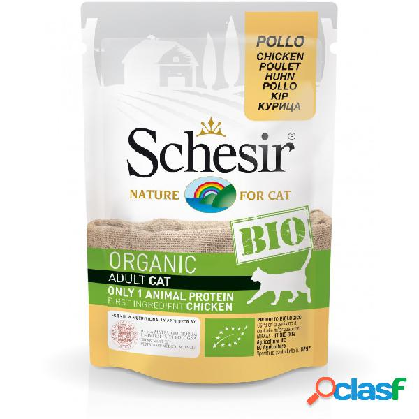 Schesir bio - schesir cat bio organic con pollo cibo umido per gatti 16 x 85 gr pollo