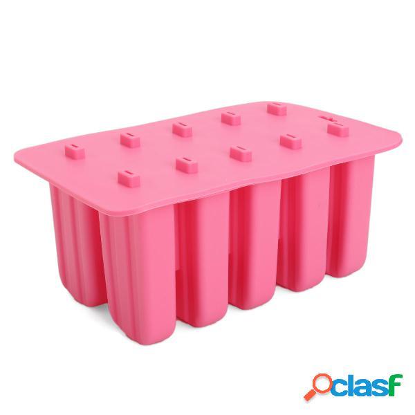 10-cavity congelato stampo per pop ice stampo per dolci lolly silicone stampo per vaschette per cucina fai da te bastone