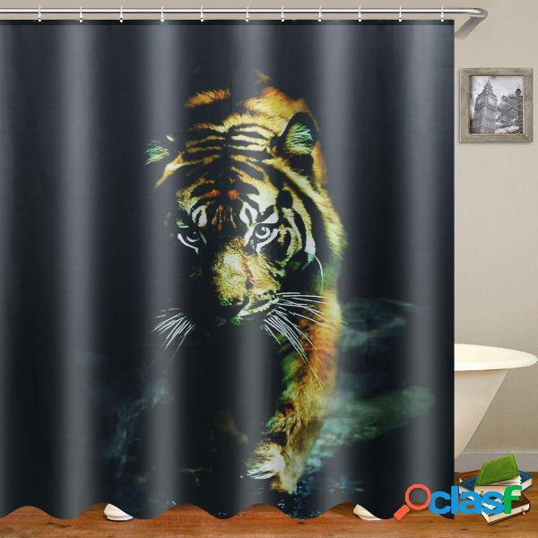 """72 """"x 72"""" animale selvatico natura decor tigre tenda da doccia per arredo bagno con ganci per doccia in plastica"""