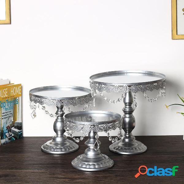 3 pezzi / set ciondoli in cristallo di ferro argento basamento della torta dessert cupcake display decorazioni di nozze
