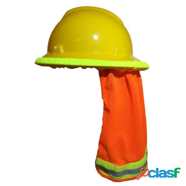 Elmetto di protezione collo parasole per casco scudo hi vis stripe riflettente arancione