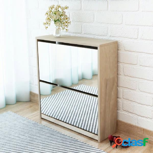 Vidaxl scarpiera con 2 ripiani e specchio in rovere 63x17x67 cm