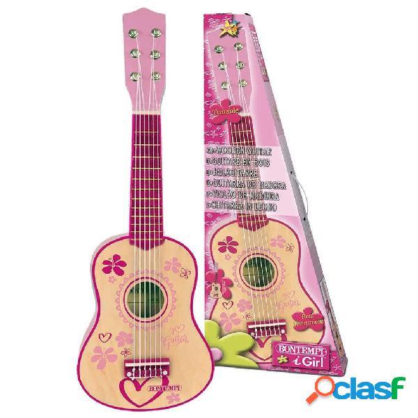 Bontempi chitarra in legno per bambini a 6 corde rosa 55 cm