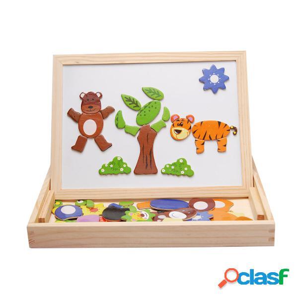 Tavolo da disegno magnetico in legno per bambini early learning educational jigsaw puzzle s