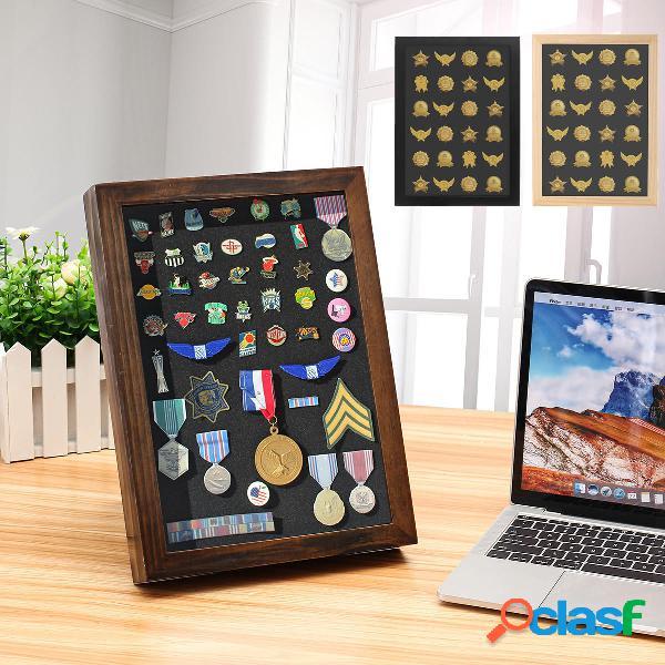 Perno medaglia display cornice contenitore in legno scatola per decorazioni da parete sospese