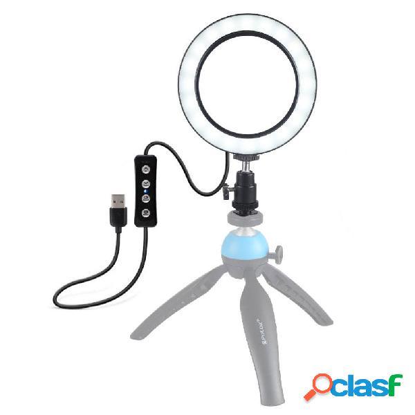 Puluz pu378 usb 6.2 pollici 3 modalità 3200k-5500k dimmerabile led luce per anello video con testa a sfera per treppiede