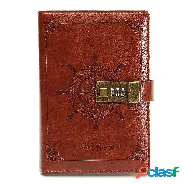B6 notebook notepad vintage agenda giornaliera memo planner agenda notebook pu cuoio sketchbook con serratura password u