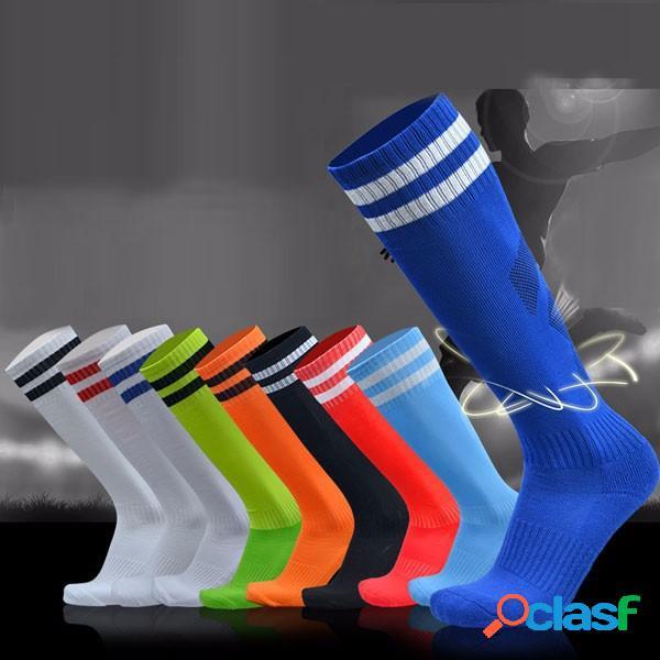 Adulti uomini strisce di calcio ispessite lungo tubo igroscopici calze sportive calze antiscivolo fondo