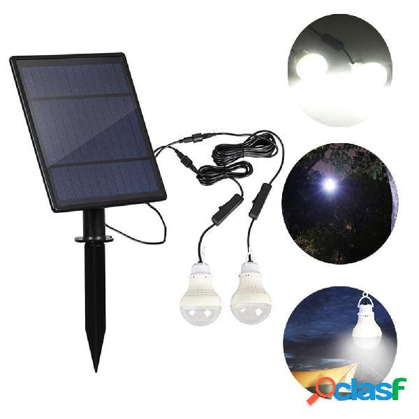 Pannello solare 2 pezzi led kit lampadina impermeabile sensore di luce esterna campeggio tenda torcia emergenza lampada