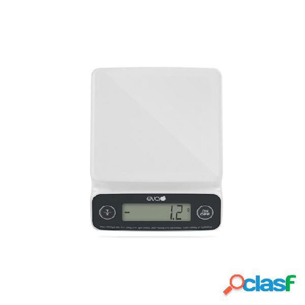 Bilancia digitale da cucina da 1 gr a 3 kg in plastica bianca - plastica riutilizzabile - bianco