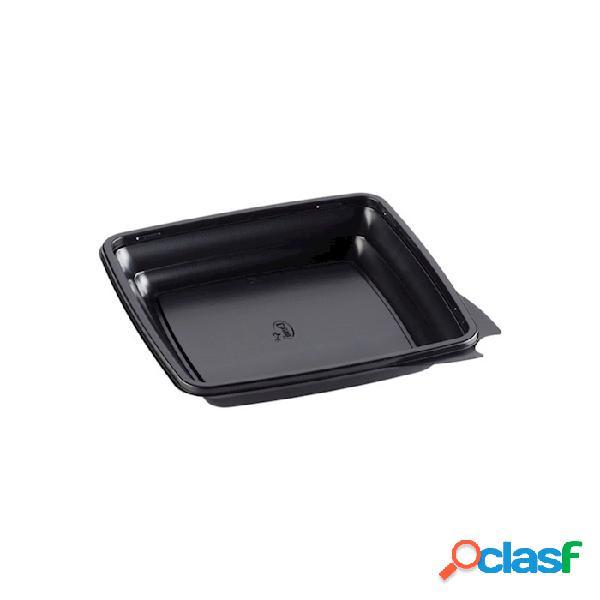 Contenitore monouso gourmet square duni in apet nero cm 20x20x3,3 - plastica monouso