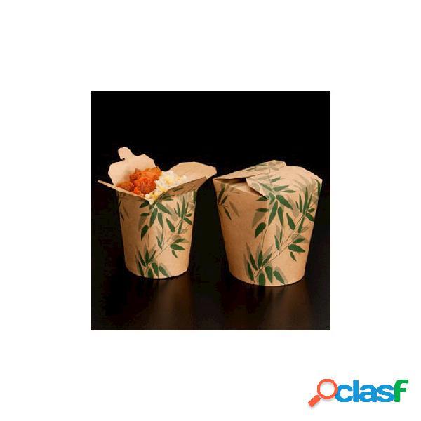 Contenitore alimenti monouso in cartone con decoro cm 10,8x9 - carta - marrone