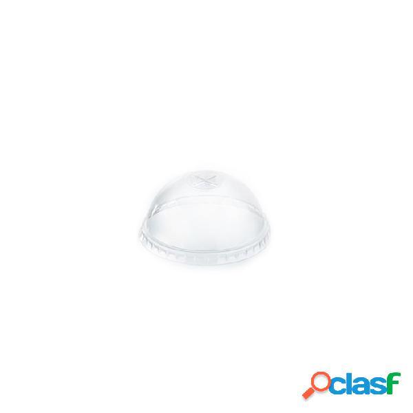 Coperchio monouso bombato con fessura in pet cm 8,3 - plastica monouso - trasparente