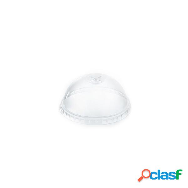 Coperchio monouso bombato con fessura in pet cm 9 - plastica monouso - trasparente