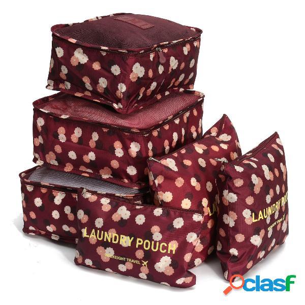 6 pezzi custodia da viaggio impermeabile tote bagagli custodia borsa imballaggio organizzatore