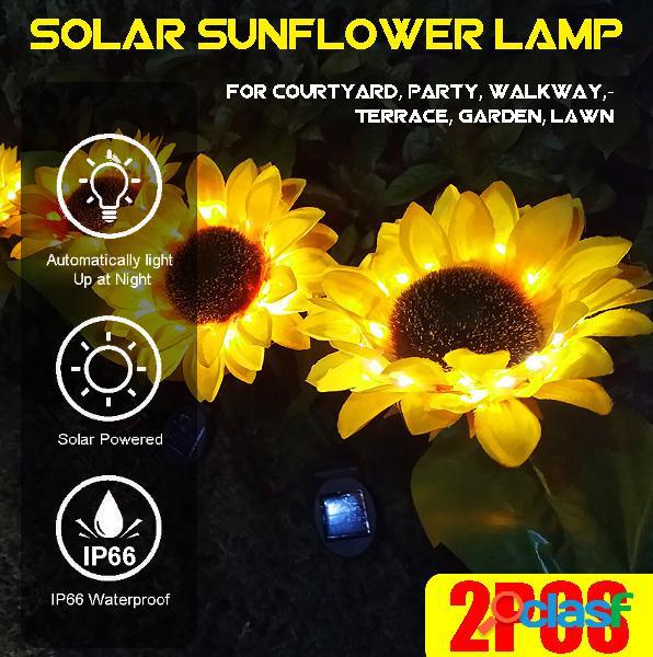 2pcs led solare light sunflower lampada decorazione per prato esterno giardino cortile