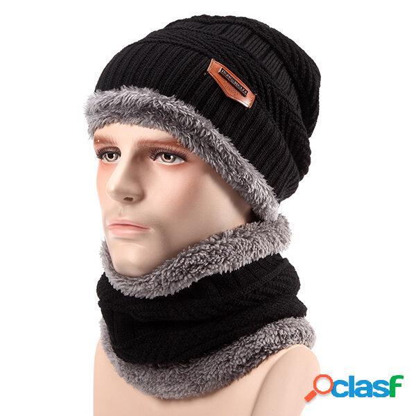 Cappello spesso a maglia fodera morbida per lo sci unisex