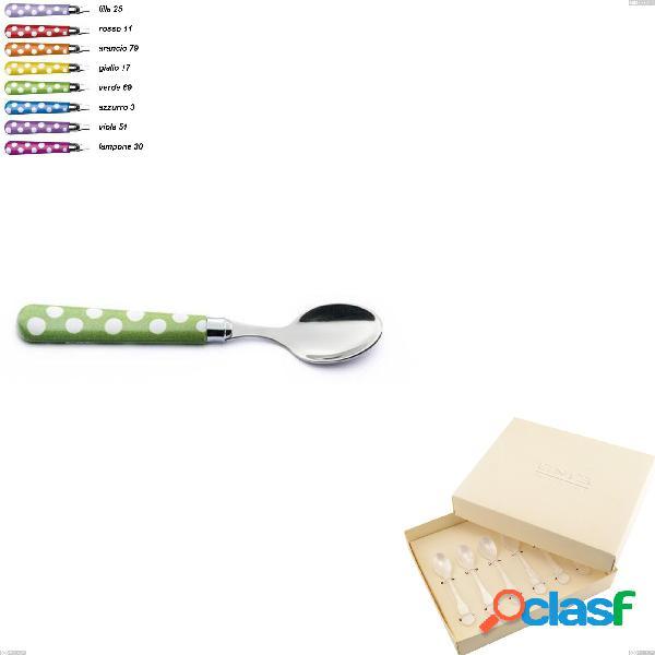 Confezione bomboniera 6 pezzi cucchiaini moka ballon, (acciaio 18.10 aisi304), manico in nylon sublimato