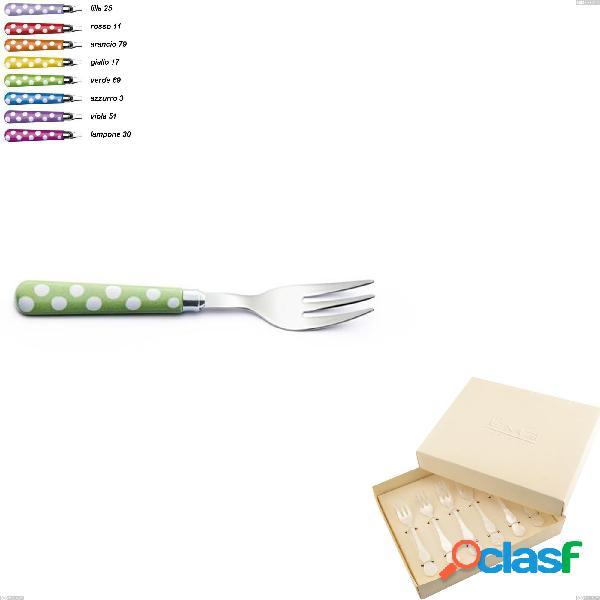 Confezione bomboniera 6 pezzi forchettine da dolce ballon, (acciaio 18.10 aisi304), manico in nylon sublimato