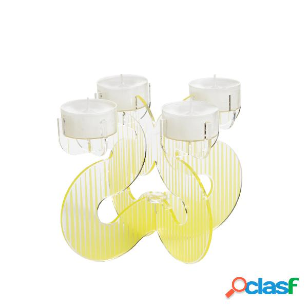 Porta candele polimetalcrilato pmma 20x23xh 17 cm colore giallo trasparente