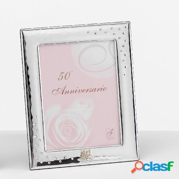 Portafoto 50 anni anniversario interno 6xh9 cm per foto in argento da appoggio con strass cristalli