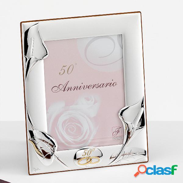 Portafoto rettangolare 50 anni anniversario 50 calla interno 18x24 cm per foto argento, da appoggio