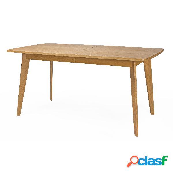 Tavolo allungabile kensal in legno ingegnerizzato e massiccio, dimensioni 160/200 x 90 x h77 cm, peso 38 kg, finitura quercia
