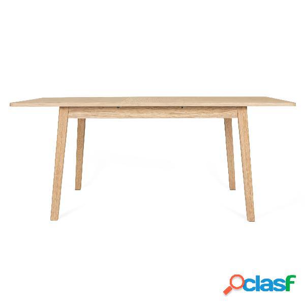 Tavolo allungabile da pranzo in quercia skagen in legno ingegnerizzato e massiccio, dimensioni 140(180) x 90 x h75 cm, peso 41 kg, finitura quercia