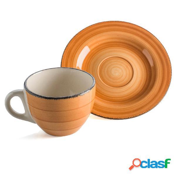 Servizio 6 pezzi tazzine caffè con piattino in gres gilda 6 pezzi realizzato decori soft